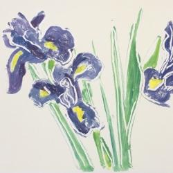 Irises 3, 2019 monotype 28x38.5 cm