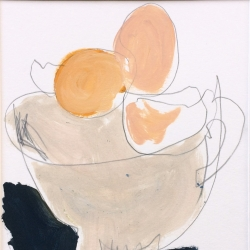 Eggshells, acrylic and pencil